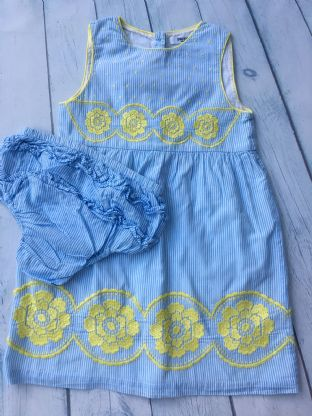 Mini Boden blue and white candy stripe dress with yellow embroidery and matching nappy cover age 2-3